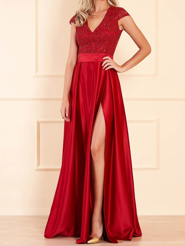 A-Line Elegant Floral Engagement Formal Evening Dress V Neck Short Sleeve Floor Length Lace Satin with Sash / Ribbon Split Embroidery 2020