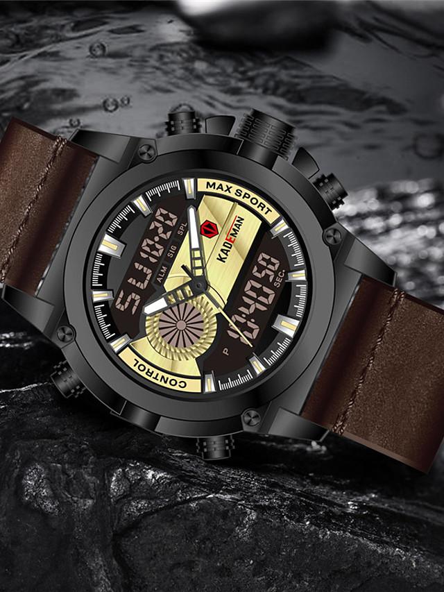 KADEMAN Men's Sport Watch Quartz Modern Style Stylish Casual Water Resistant / Waterproof Leather Analog - Digital - Black Blue Red / Stainless Steel / Calendar / date / day / Noctilucent