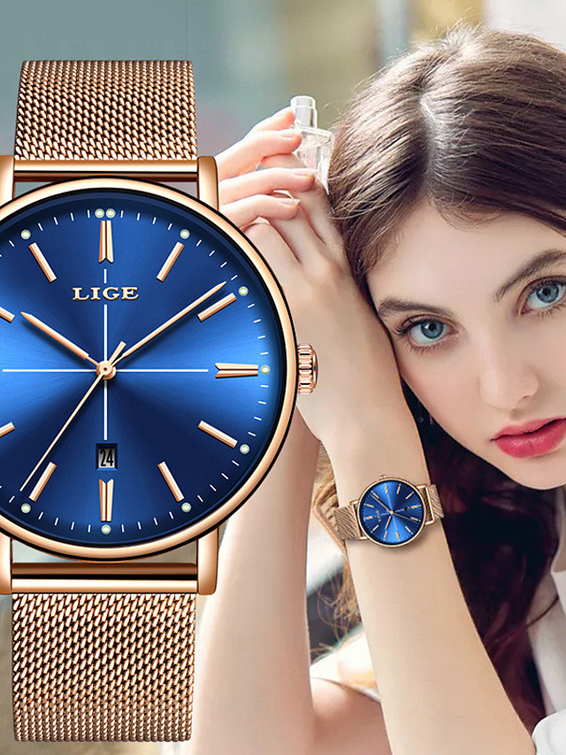 LIGE Women's Steel Band Watches Quartz Modern Style Stylish Casual Water Resistant / Waterproof Stainless Steel Analog - Golden+Black White+Golden Black / Noctilucent