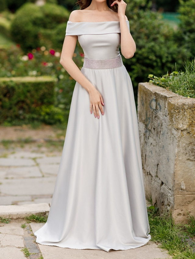 A-Line Elegant Minimalist Engagement Formal Evening Dress Off Shoulder Short Sleeve Sweep / Brush Train Satin with Sash / Ribbon 2020