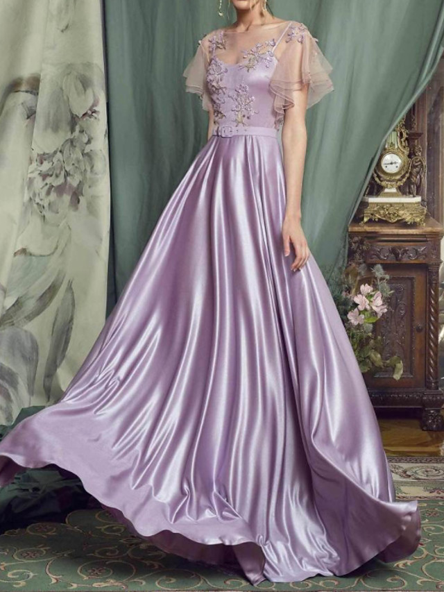 A-Line Elegant Cut Out Engagement Prom Dress Illusion Neck Short Sleeve Floor Length Charmeuse with Pleats Appliques 2020