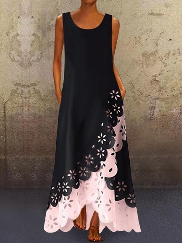 Women's A-Line Dress Maxi long Dress - Sleeveless Floral Hole Summer U Neck Plus Size Casual 2020 White Purple Blushing Pink Gold Light Blue S M L XL XXL XXXL XXXXL XXXXXL