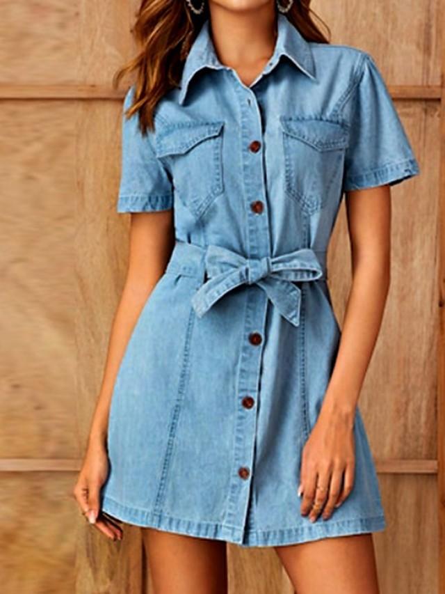 Women's Denim Shirt Dress Short Mini Dress Light Blue Short Sleeve ...