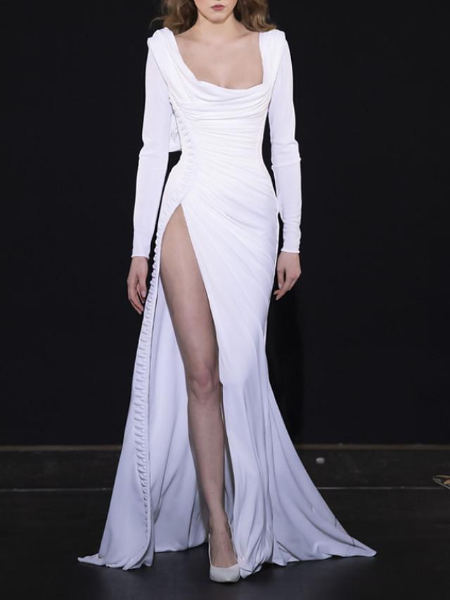 Sheath / Column Elegant Celebrity Style Engagement Formal Evening Dress Scoop Neck Long Sleeve Court Train Spandex with Ruched Split 2020