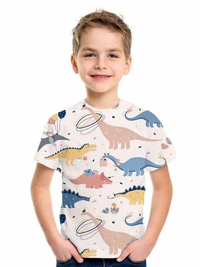 Kids Boys' Basic Fantastic Beasts Animal Print Short Sleeve Tee Beige
