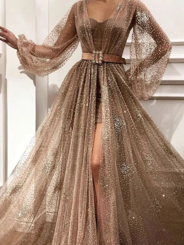 A-Line Glittering Luxurious Engagement Prom Dress Sweetheart Neckline Long Sleeve Sweep / Brush Train Tulle with Sash / Ribbon Pleats Split 2020