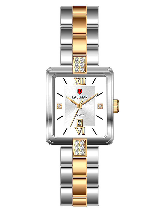 Women's Quartz Watches Quartz Modern Style Stylish Casual Water Resistant / Waterproof Stainless Steel Analog - Rose Gold White+Golden Black / Calendar / date / day