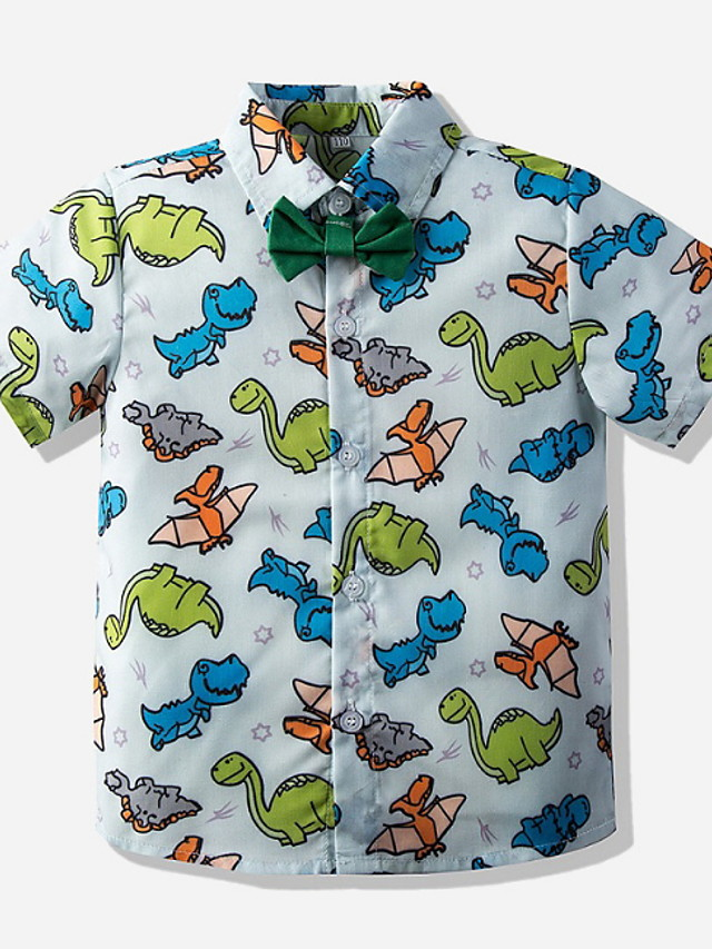 Kids Toddler Boys' Street chic Animal Short Sleeve Shirt Light Blue