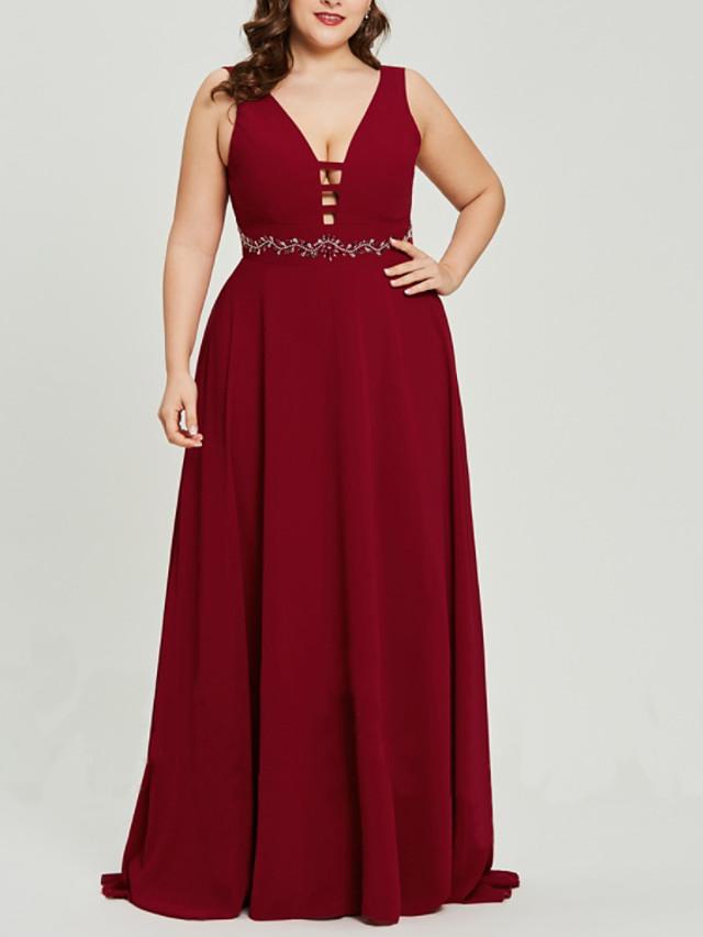 A-Line Beautiful Back Plus Size Wedding Guest Formal Evening Dress V Neck Sleeveless Sweep / Brush Train Chiffon with Sash / Ribbon 2020