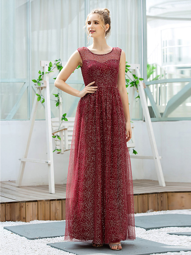 A-Line Glittering Empire Wedding Guest Formal Evening Dress Illusion Neck Sleeveless Floor Length Tulle with Sequin 2020