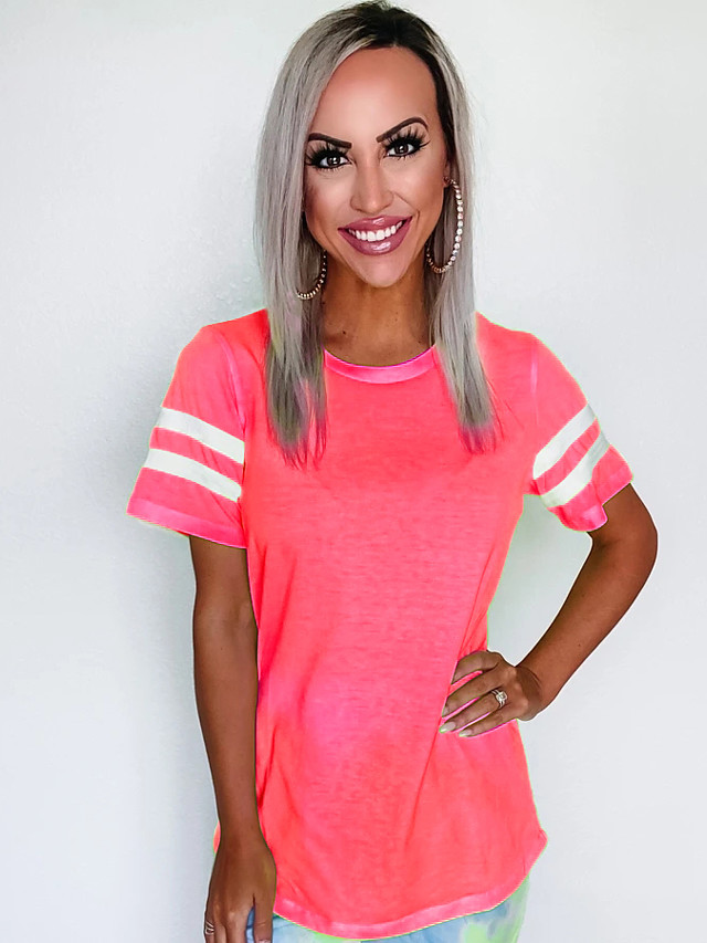 Women's T-shirt Solid Colored Round Neck Tops Basic Basic Top Blushing Pink Orange Green