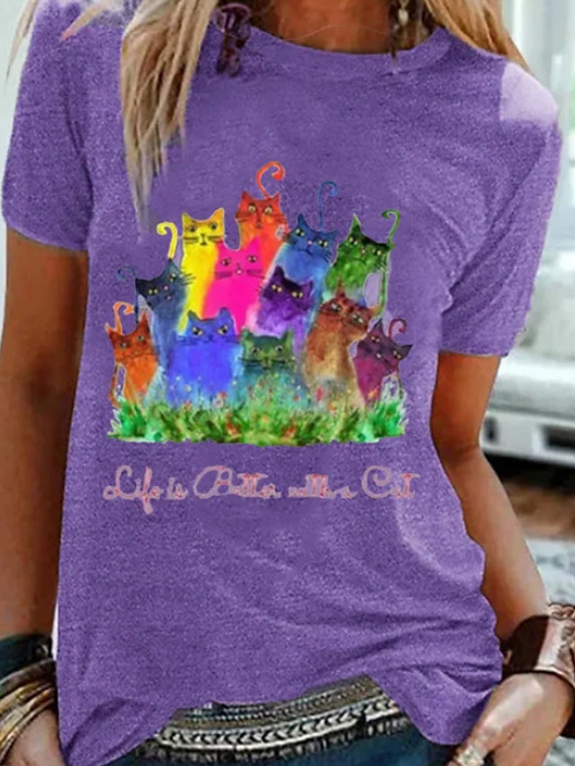 Women's T-shirt Cartoon Round Neck Tops Basic Top Purple