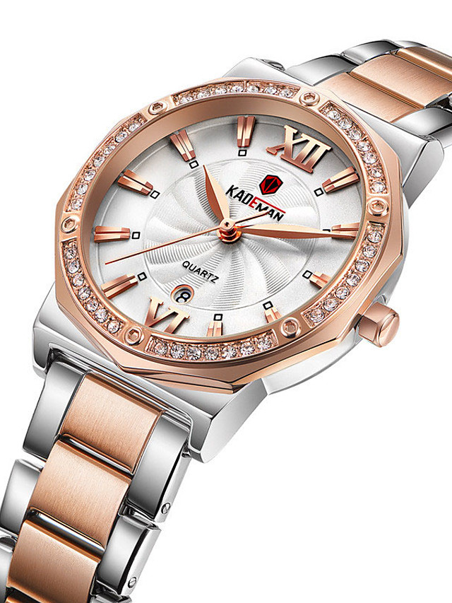 Women's Steel Band Watches Quartz Stylish Glitter Sparkle Water Resistant / Waterproof Stainless Steel Analog - Rose Gold Golden+White White / Calendar / date / day