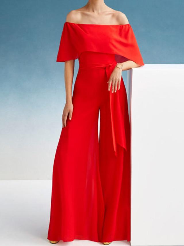 Jumpsuits Elegant Minimalist Wedding Guest Formal Evening Dress Off Shoulder Short Sleeve Floor Length Chiffon with Sash / Ribbon 2020