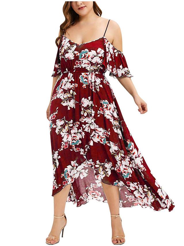 Women's Plus Size Strap Dress Rose Midi Dress - Short Sleeve Floral Patchwork Summer Street chic Boho Party Going out Butterfly Sleeve 2020 Wine Black Orange XL XXL XXXL XXXXL XXXXXL