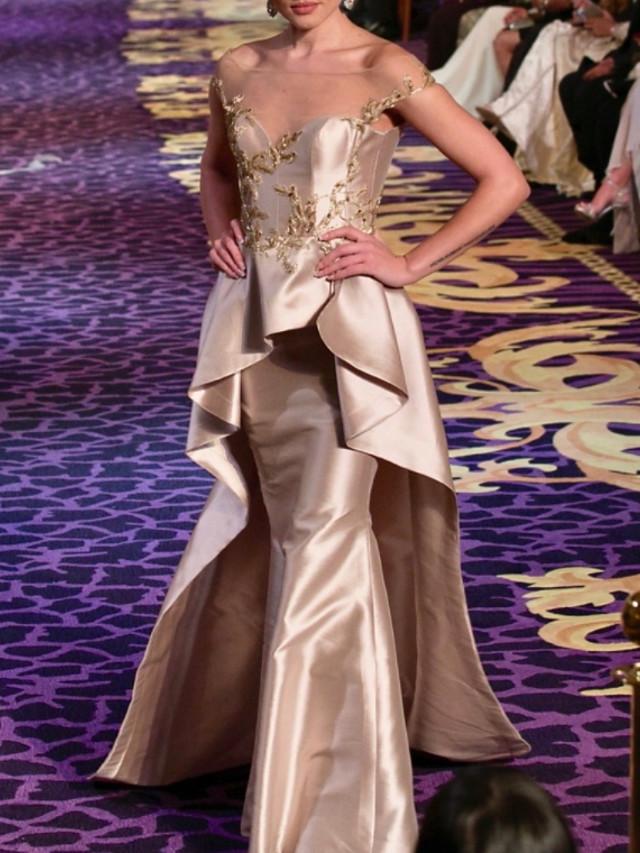 Mermaid / Trumpet Elegant Peplum Wedding Guest Formal Evening Dress Illusion Neck Short Sleeve Floor Length Taffeta with Beading Ruffles 2020