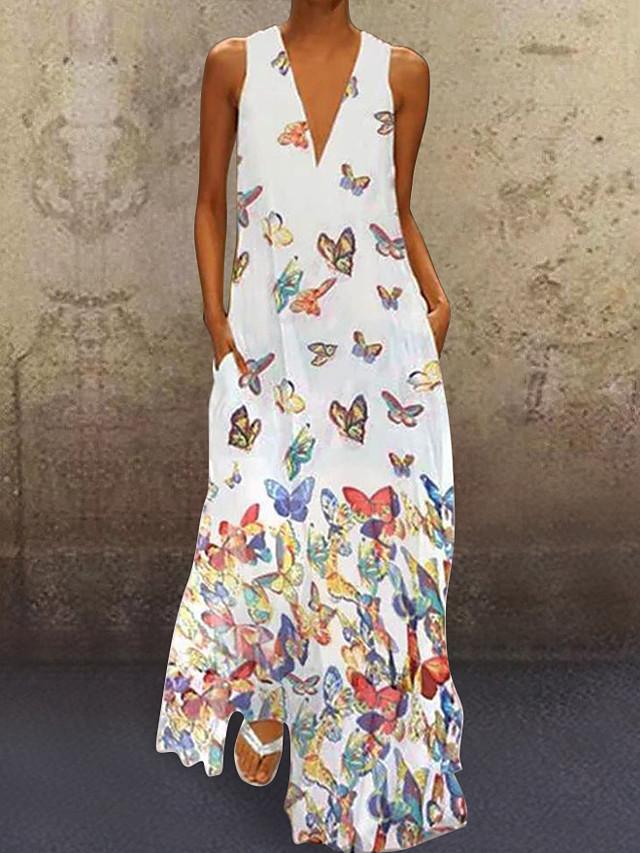Women's A-Line Dress Maxi long Dress - Sleeveless Butterfly Animal Print Summer Deep V Plus Size Casual Vacation Beach 2020 White Purple Yellow Blushing Pink Light Blue S M L XL XXL XXXL XXXXL XXXXXL