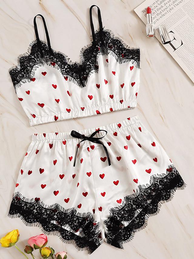 Women's Lace Bow Print Suits Nightwear Geometric White S M L