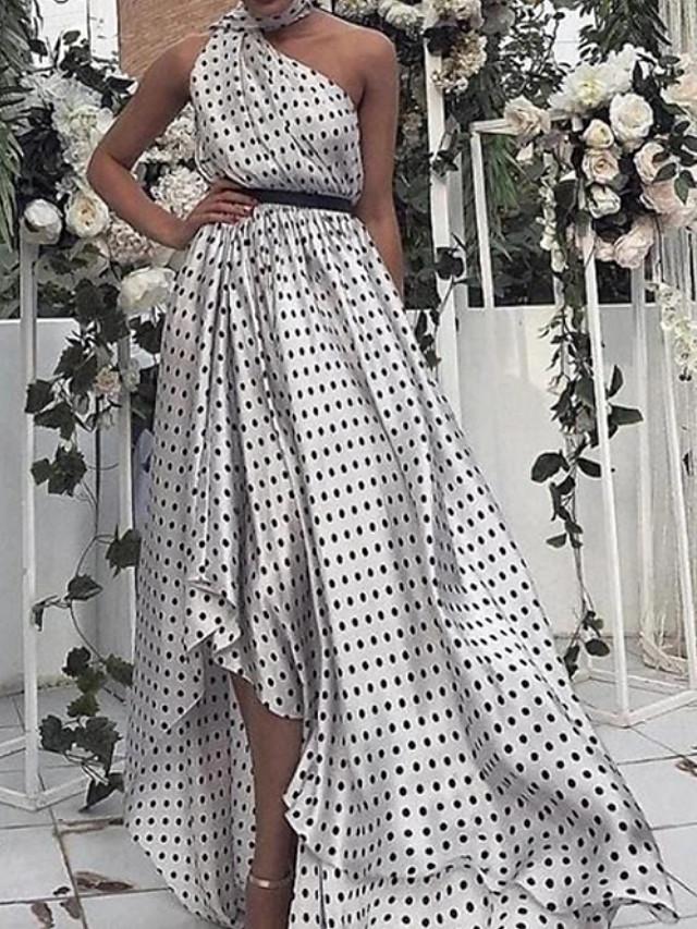 A-Line Elegant Beautiful Back Holiday Prom Dress One Shoulder Sleeveless Asymmetrical Chiffon with Sash / Ribbon Pattern / Print 2020