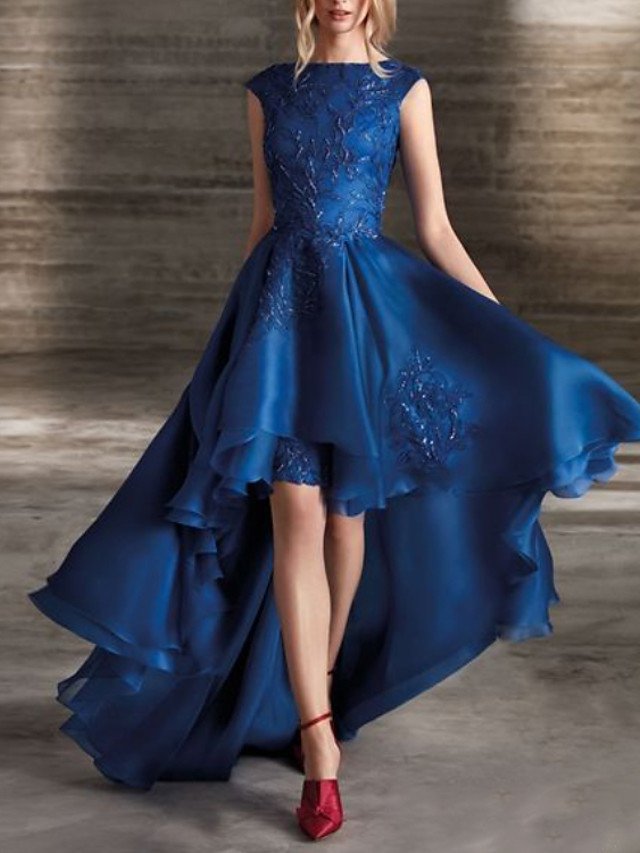A-Line Beautiful Back Floral Party Wear Formal Evening Dress Jewel Neck Sleeveless Asymmetrical Lace Satin with Pleats Appliques 2020