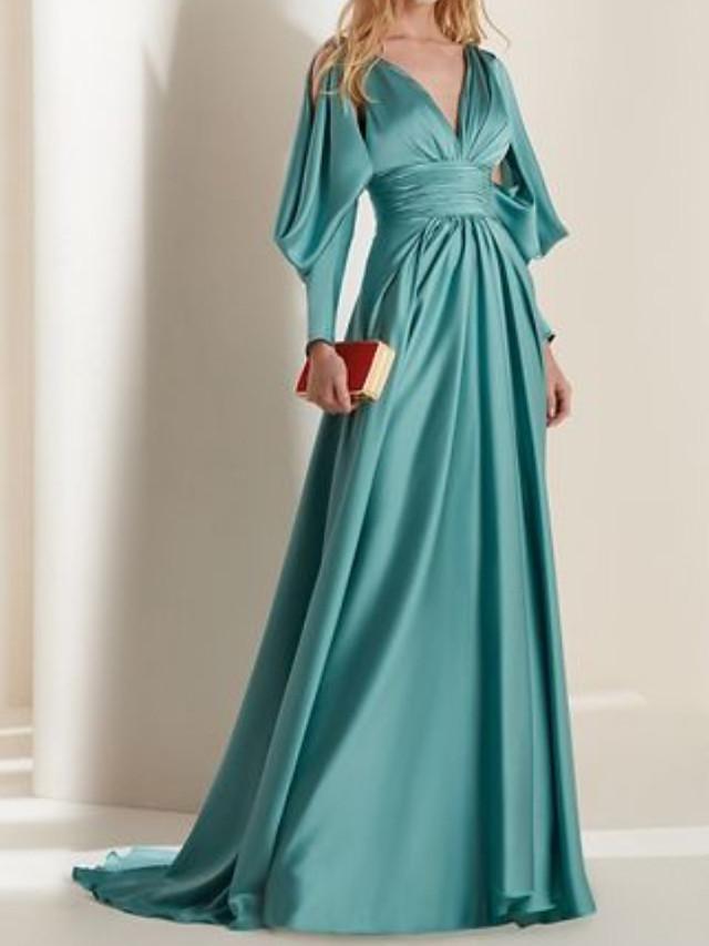 A-Line Elegant Beautiful Back Engagement Formal Evening Dress V Neck Long Sleeve Sweep / Brush Train Satin with Pleats 2020