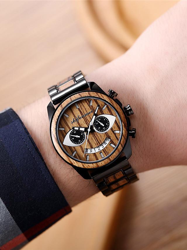 Men's Digital Watch Digital Stylish Casual Water Resistant / Waterproof Analog Black Blue Coffee / Stainless Steel / Stainless Steel / Japanese / Japanese