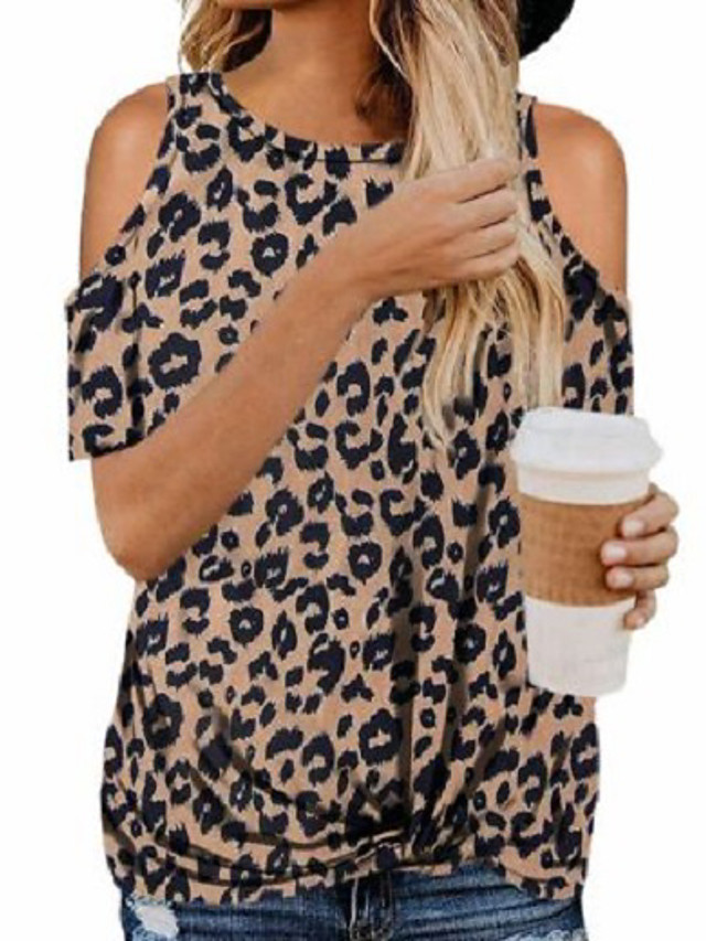 Women's Going out Blouse Leopard Round Neck Tops Basic Basic Top White Black Army Green