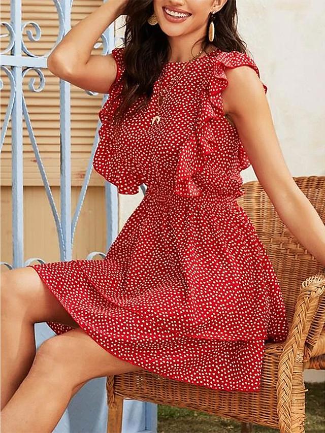 Γυναικεία Φόρεμα ριχτό από τη μέση και κάτω Μίνι φόρεμα - Αμάνικο Πουά Με Βολάν Καλοκαίρι Καθημερινό 2020 Ρουμπίνι Τ M L XL