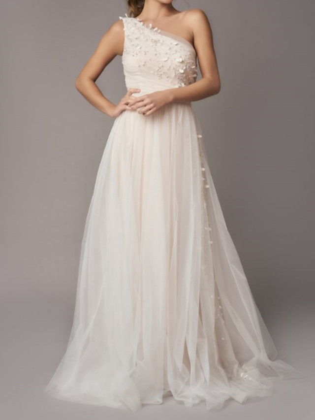 A-Line Wedding Dresses One Shoulder Sweep / Brush Train Tulle Sleeveless Country Backless with Appliques 2020