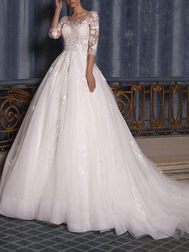 Ball Gown Wedding Dresses Jewel Neck Court Train Lace Tulle 3/4 Length Sleeve Formal Illusion Sleeve with Appliques 2020