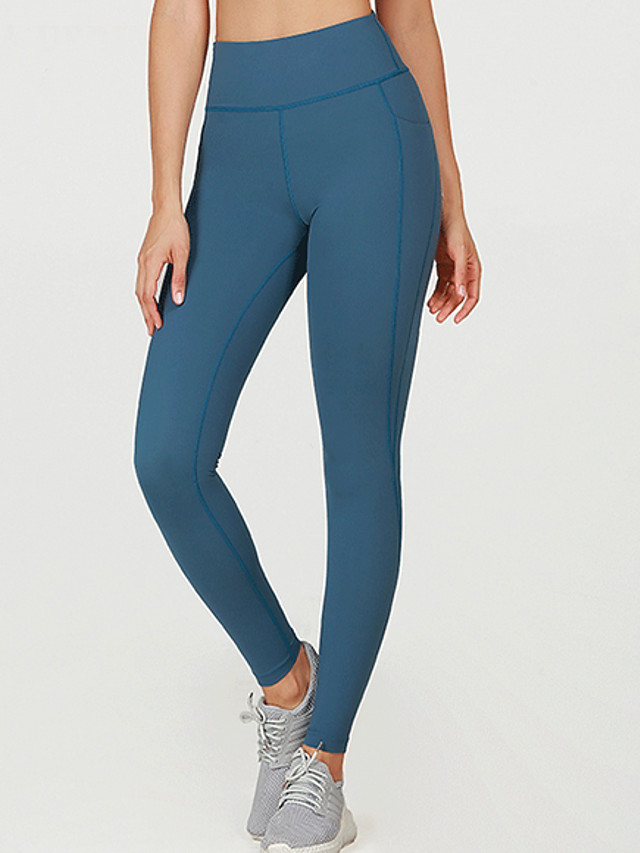Women's Yoga Basic Legging - Solid Colored Mid Waist Blue XS S M