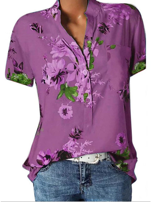 Women's Shirt Graphic V Neck Tops Basic Top White Purple Blushing Pink