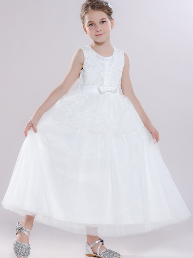 Ball Gown Round Floor Length Tulle Junior Bridesmaid Dress with Bow(s) / Tier