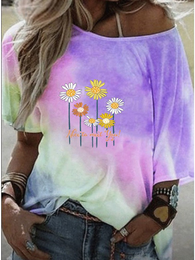 Women's T-shirt Graphic Round Neck Tops Loose Basic Top Blue Purple Yellow