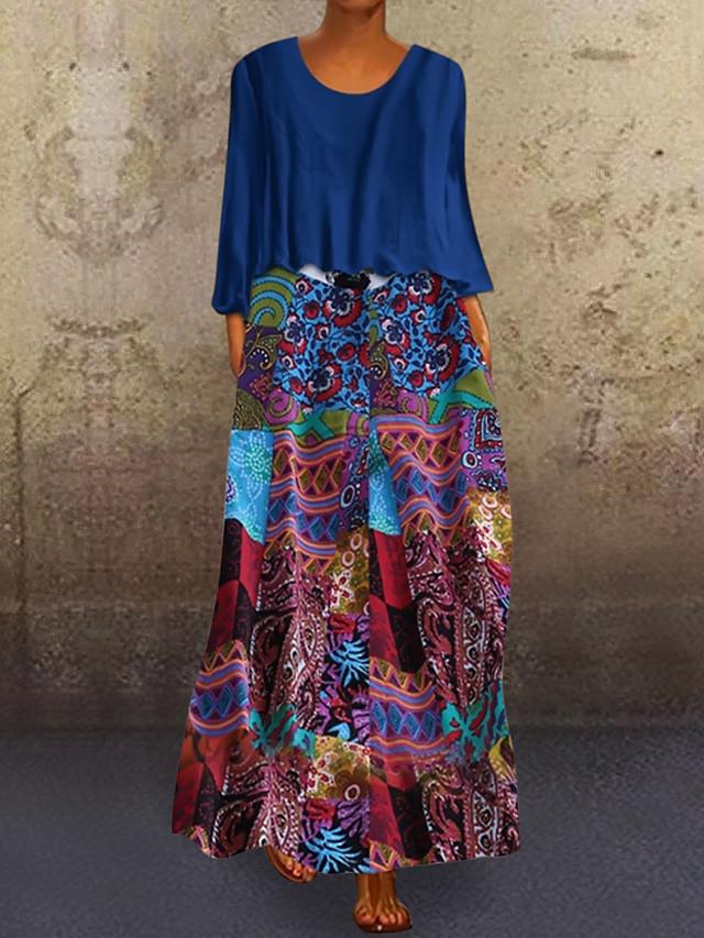 Women's Plus Size Maxi Two Piece Dress - 3/4 Length Sleeve Graphic Print Holiday Vacation Loose Blue Purple Orange M L XL XXL XXXL XXXXL XXXXXL