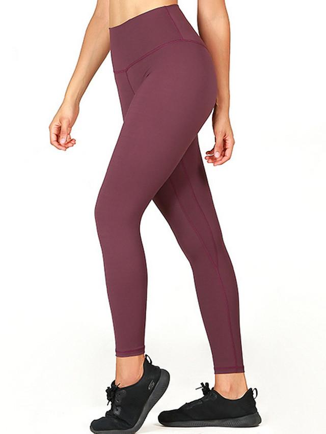 Women's Yoga Basic Legging Solid Colored Mid Waist Black Blue Wine XS S M / Slim