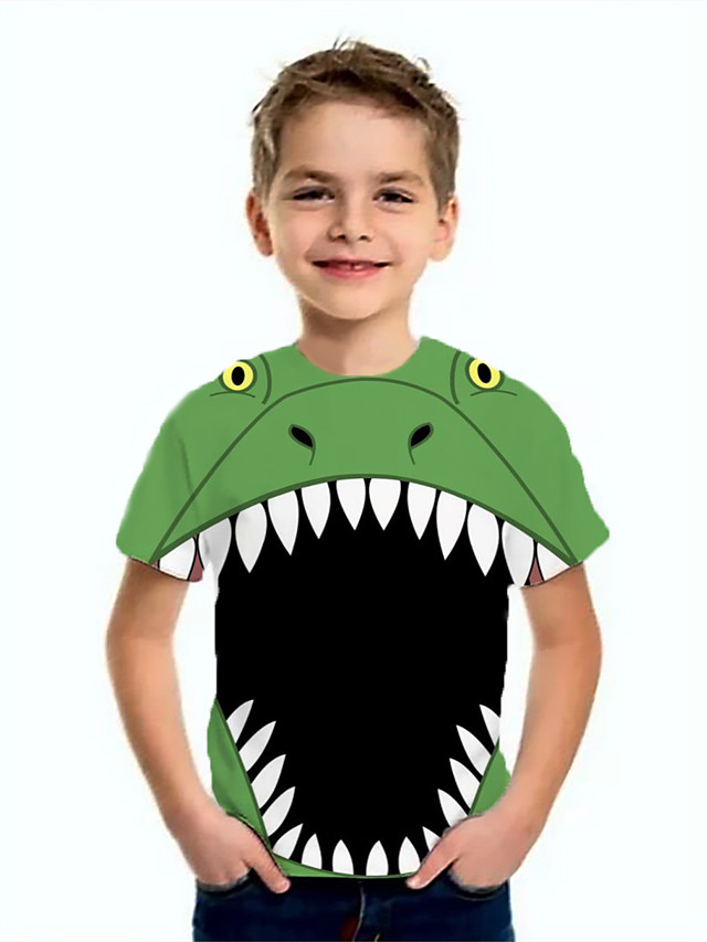 Kids Boys' Basic Dinosaur Animal Print Short Sleeve Tee Green
