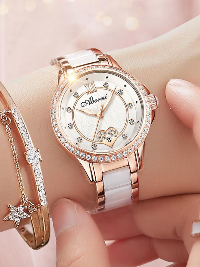Women's Quartz Watches Quartz Heart Glitter Casual Water Resistant / Waterproof Ceramic Genuine Leather Analog - White+Gold White Black / Calendar / date / day