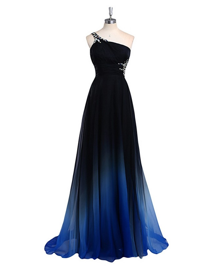 A-Line Color Block Sparkle Engagement Prom Dress One Shoulder Sleeveless Sweep / Brush Train Chiffon with Pleats Crystals 2020