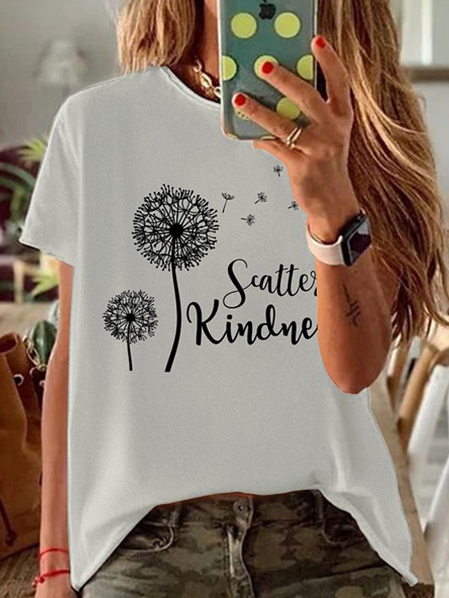 Women's T-shirt Graphic Round Neck Tops Loose Cotton Basic Top White Black Red