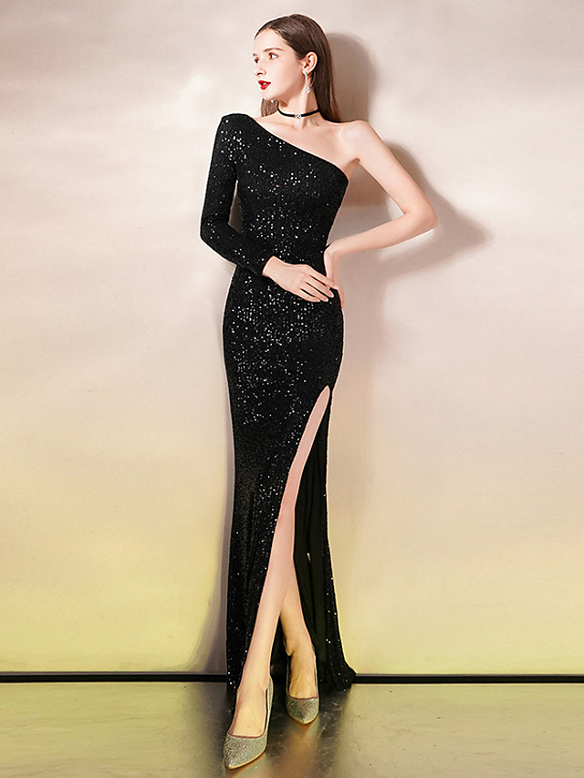 Mermaid / Trumpet Sexy Sparkle Party Wear Formal Evening Dress One Shoulder Long Sleeve Floor Length Sequined with Sequin 2020