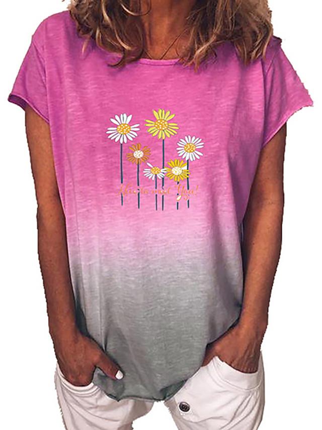 Pentru femei Tricou Floral Gradient de culoare Floare Rotund Topuri Albastru piscină Mov Galben