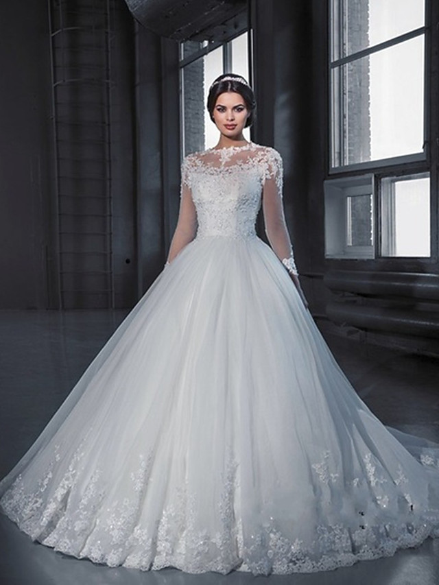 A-Line Wedding Dresses Off Shoulder Court Train Lace Long Sleeve Sexy with Appliques 2020