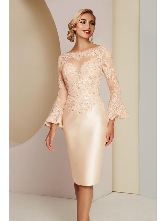 Sheath / Column Mother of the Bride Dress Elegant Vintage Plus Size Jewel Neck Knee Length Lace Satin Long Sleeve with Lace 2020