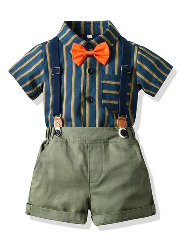 Kids Boys' Basic Striped Short Sleeve Clothing Set Light Green