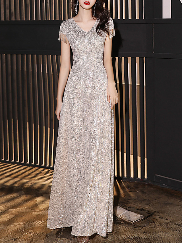 A-Line Minimalist Sparkle Engagement Formal Evening Dress V Neck Short Sleeve Floor Length Sequined with Sequin 2020