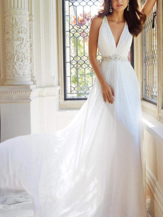 A-Line Wedding Dresses V Neck Sweep / Brush Train Chiffon Sleeveless Simple with Ruched Beading 2020
