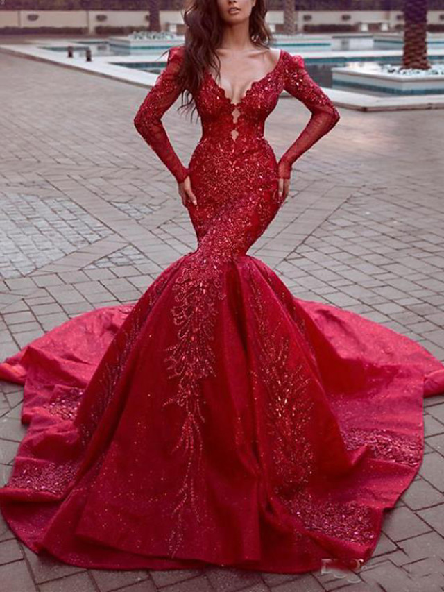 Mermaid / Trumpet Sexy Sparkle Engagement Formal Evening Dress V Neck Long Sleeve Chapel Train Sequined with Sequin 2020