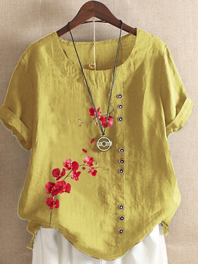 Women's Blouse Graphic Round Neck Tops Loose Cotton Summer Yellow Light Green Light Blue