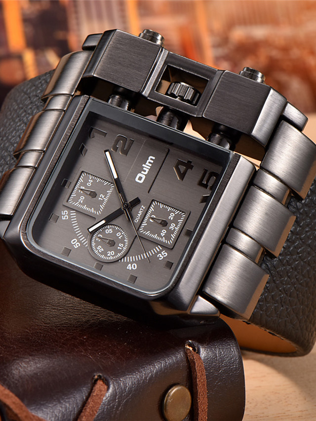 Oulm Men's Military Watch Wrist Watch Analog Quartz Oversized Steampunk Cool Large Dial / Stainless Steel / Leather / Two Years